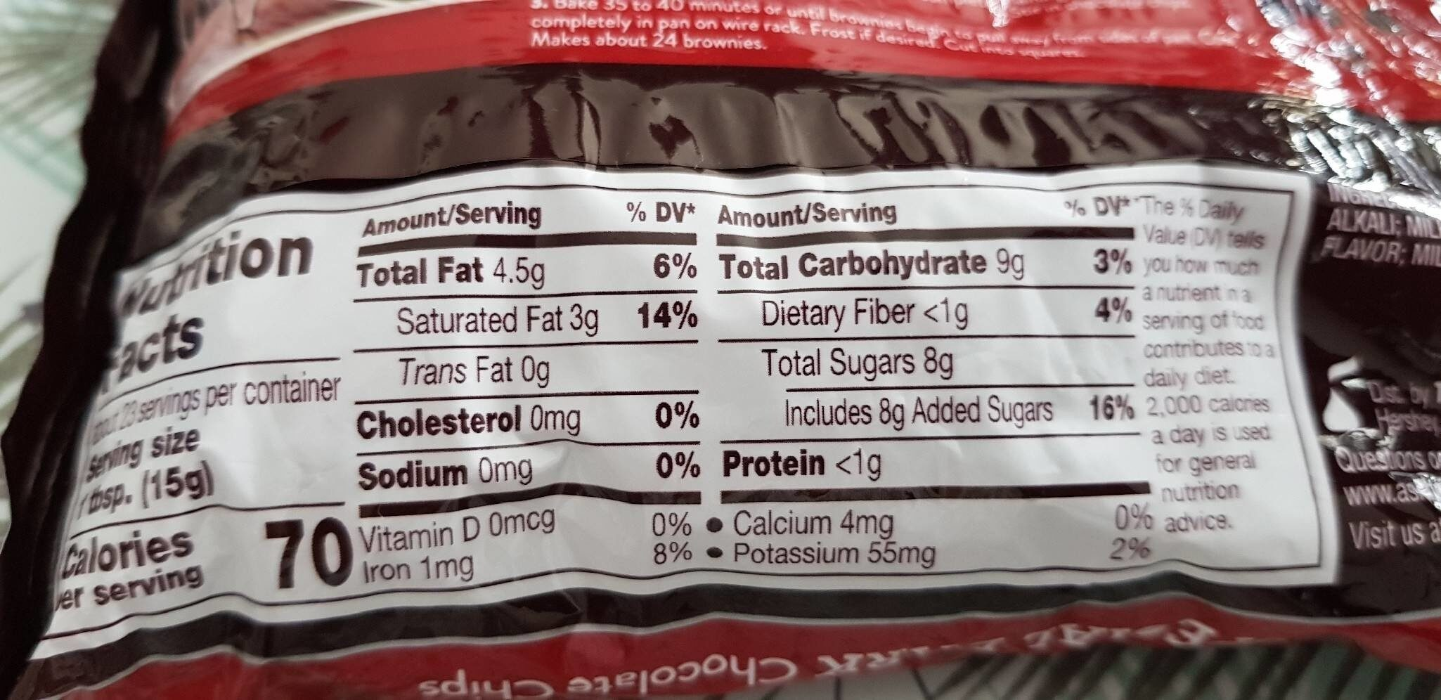 Hershey's chocolate chips - Informations nutritionnelles - en