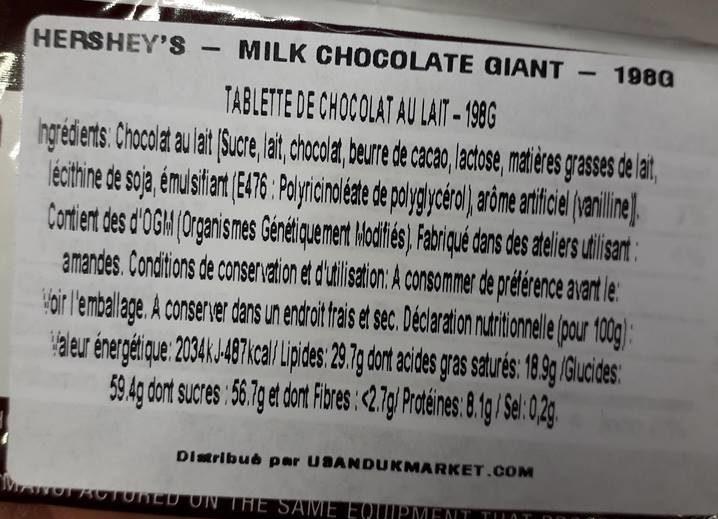 Hershey Giant Milk Chocolate - Ingrediënten
