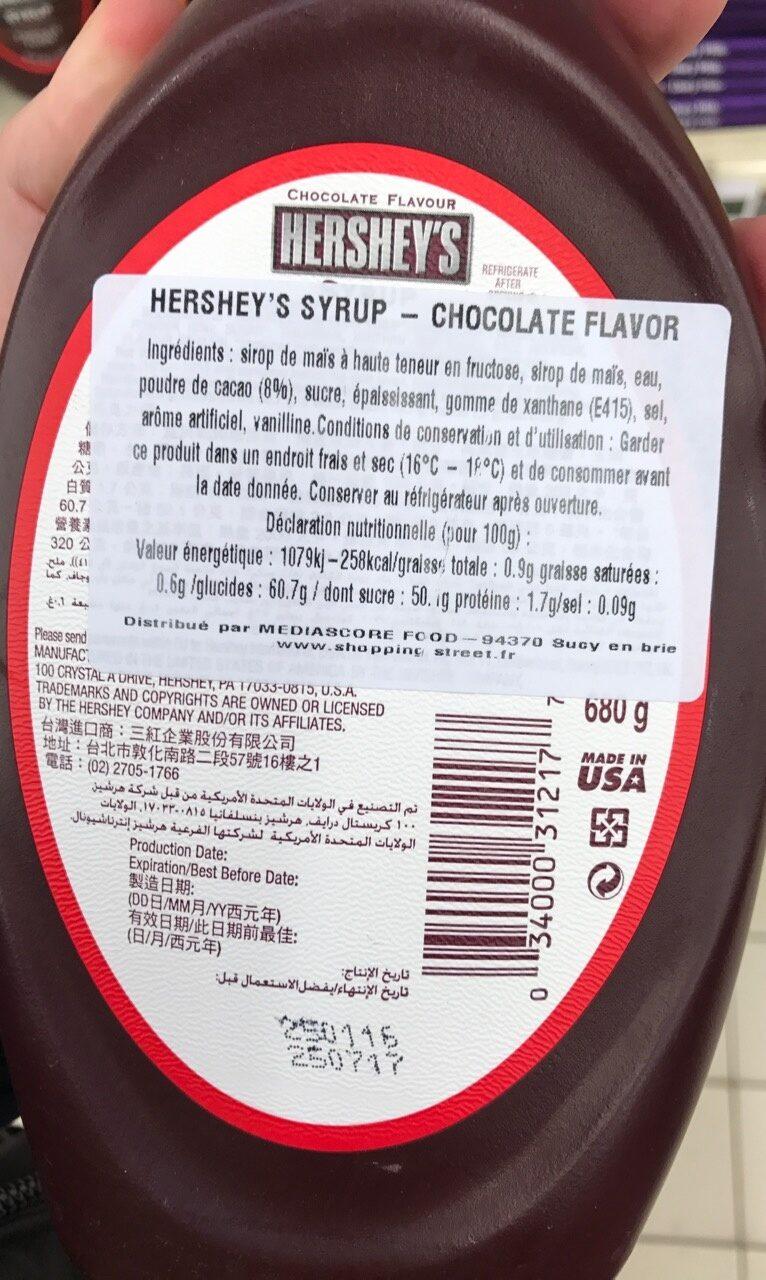 Syrup Chocolate Flavor - Ingredients - en