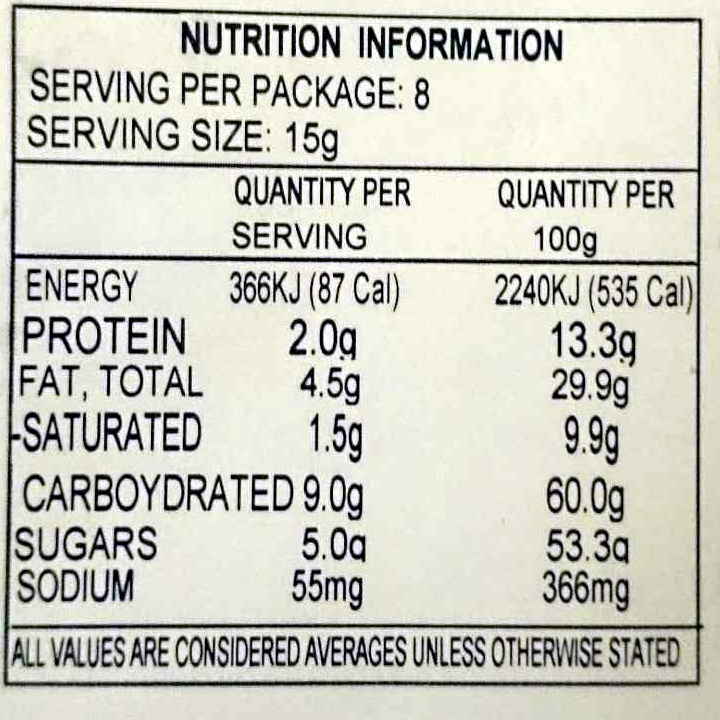 Reeses Peanut Butter Cups - Nutrition facts
