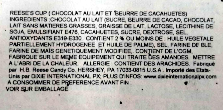 Milk chocolate trees, peanut butter - Ingredients