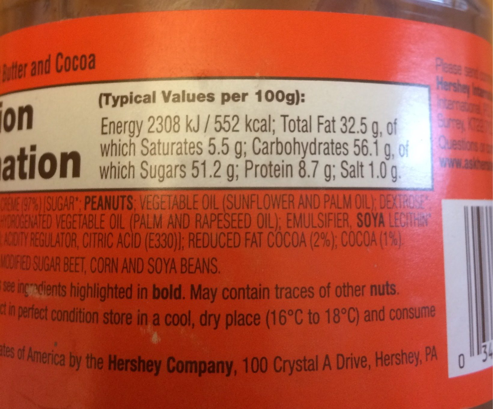 Reese's Spreads Peanut Butter Chocolate - Nutrition facts - fr