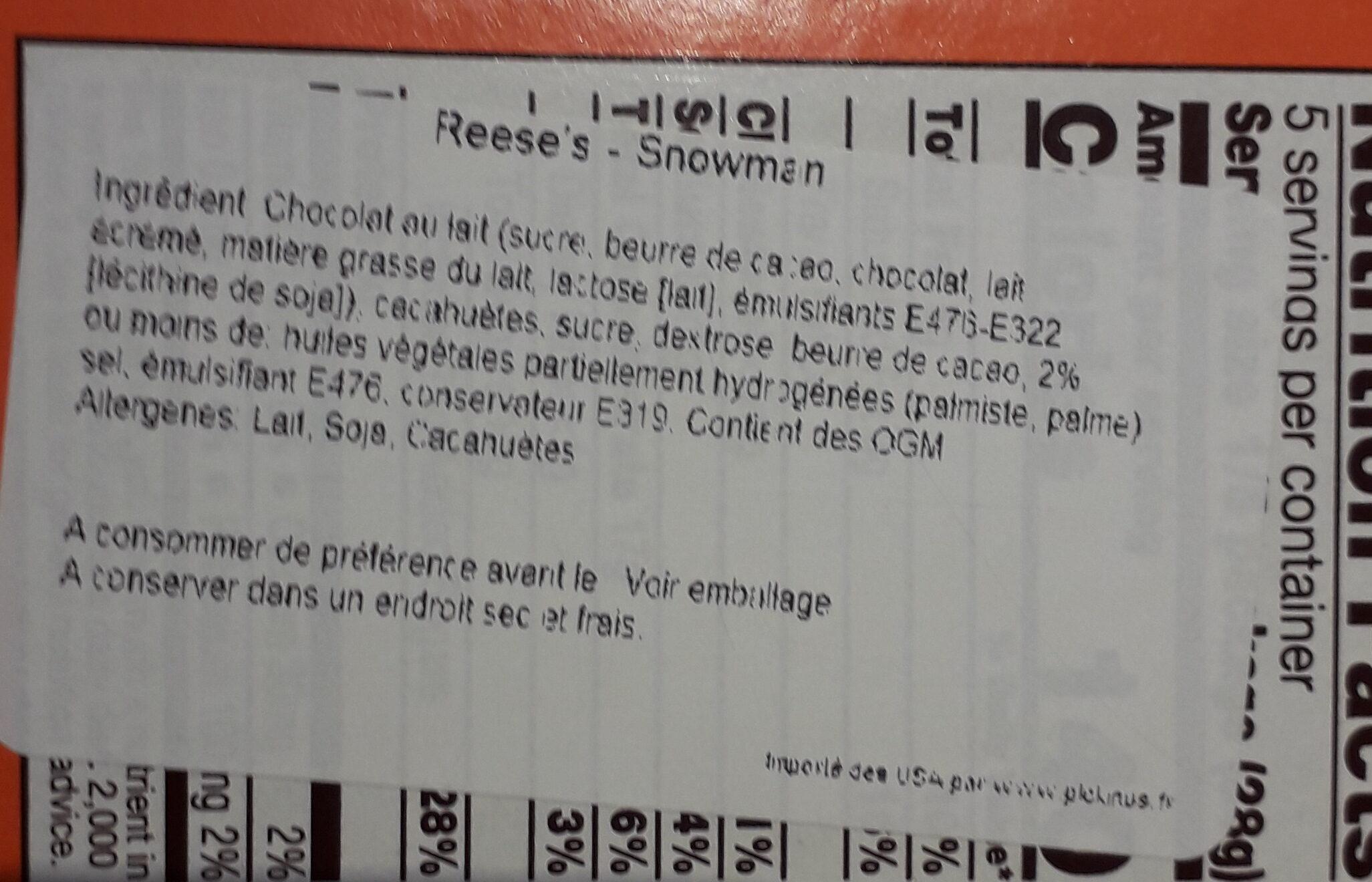 Reese's Milk chocolate peanut butter snowman - Ingrédients - fr