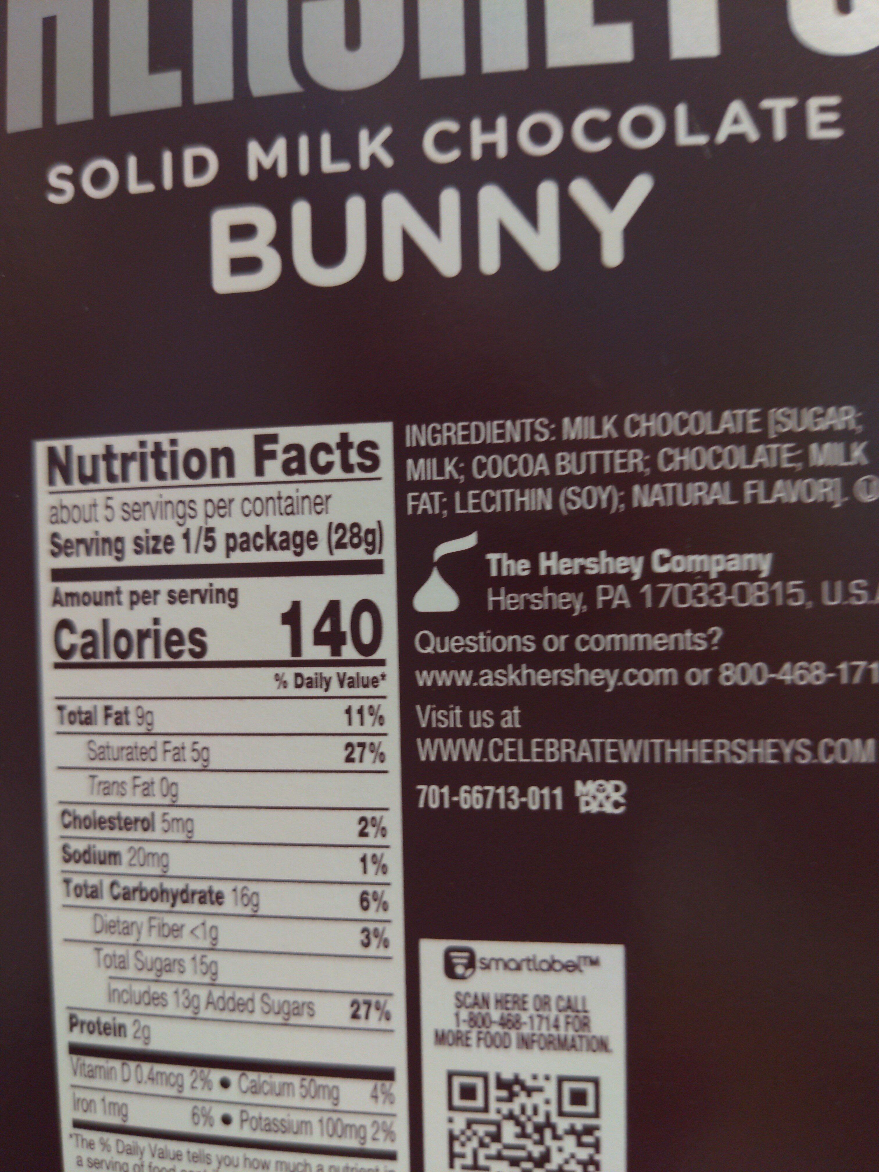 Hershey's solid milk chocolate bunny - Ingredients - en