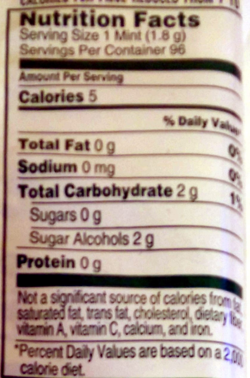 BreathSavers Spearmint 8 Pack - Nutrition facts - en