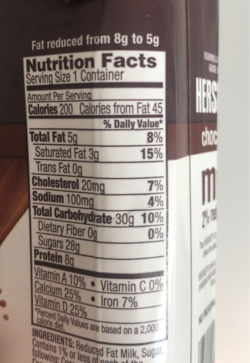 Hershey's Chocolate Milk - Nutrition facts