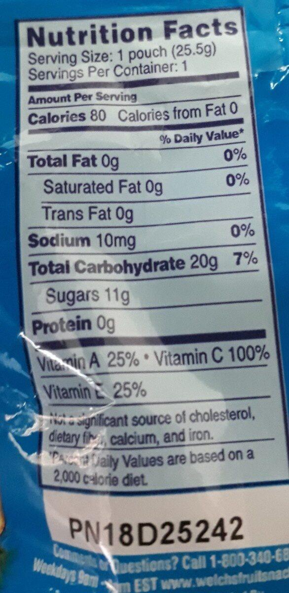 Fruit snacks - Nutrition facts - en