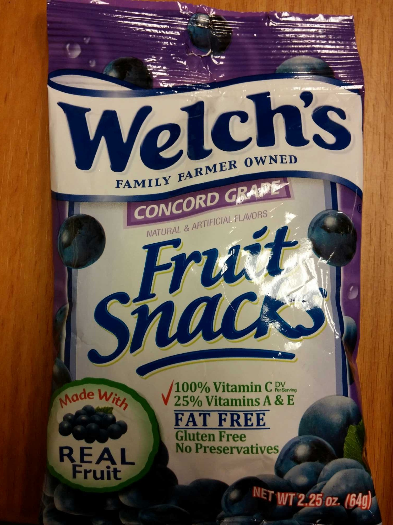 concord grape fruit snacks - welch's - 2.25oz