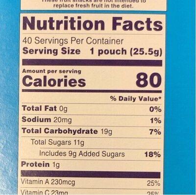 Fruit Snack - Nutrition facts - en