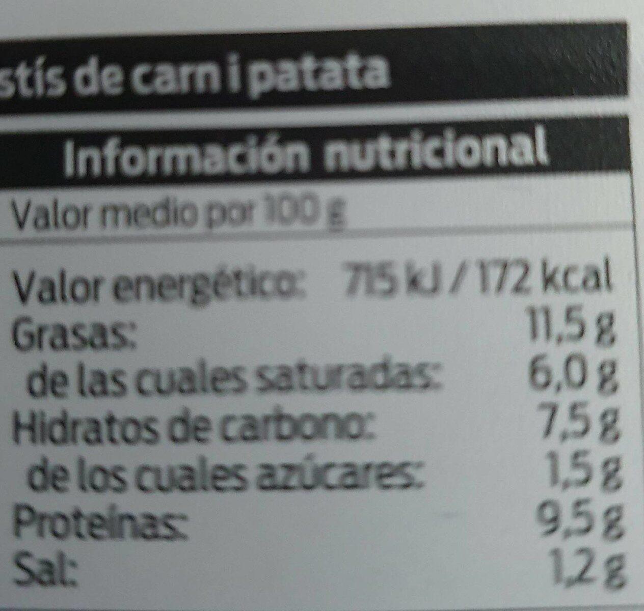 Pastel de carne y patata - Nutrition facts