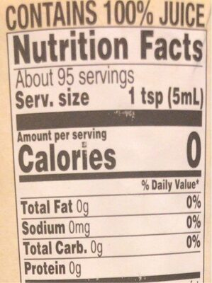 Organic lime juice - Nutrition facts - en