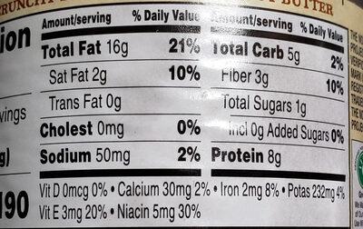 Santa cruz, organic crunchy dark roasted peanut butter, crunchy dark roasted - Nutrition facts - en