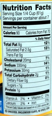 Classic Alfredo Sauce - Nutrition facts