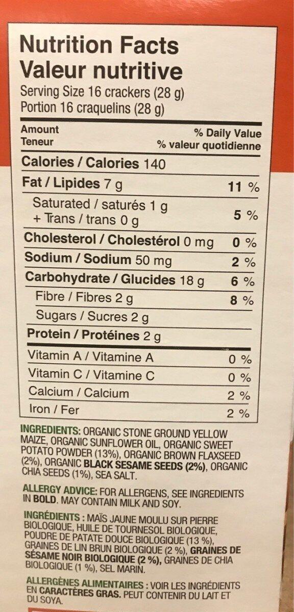 Sweet Potato Crackers - Voedingswaarden - en