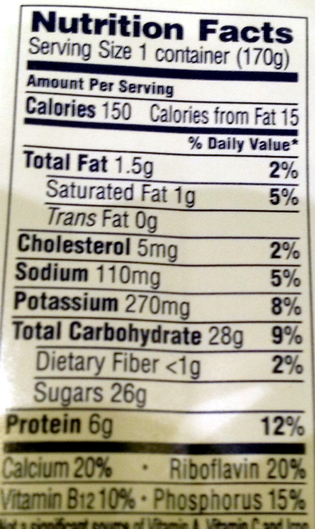 Fruit on the bottom - Nutrition facts