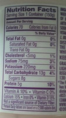 Light & Fit, Nonfat Yogurt, Strawberry - Nutrition facts