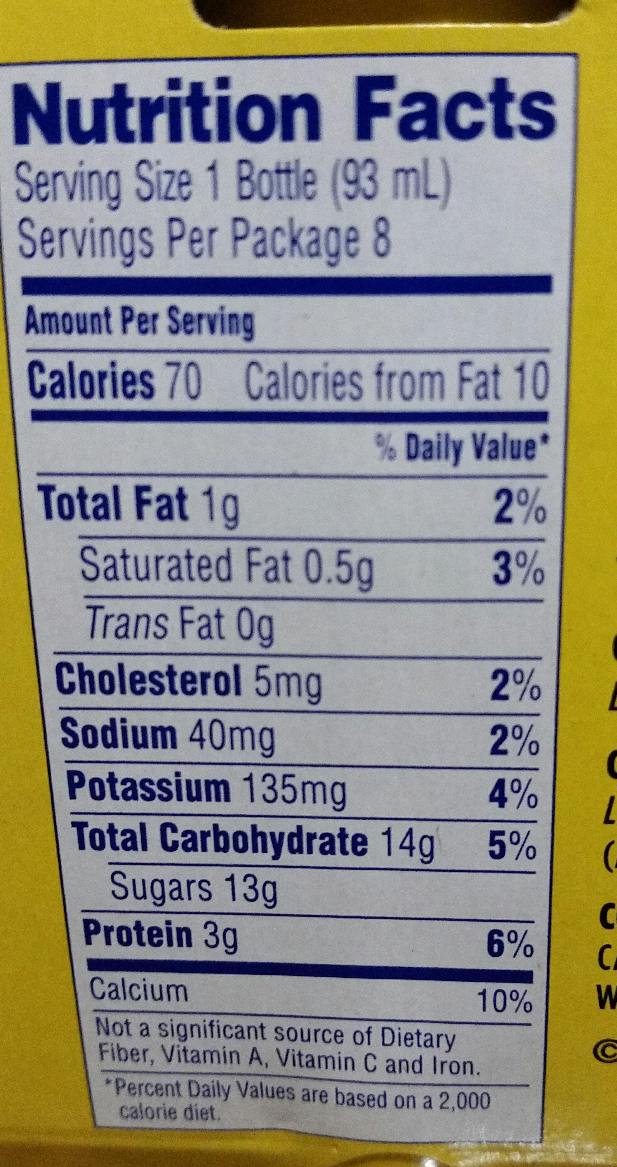 Probiotic dairy drink - Nutrition facts - en