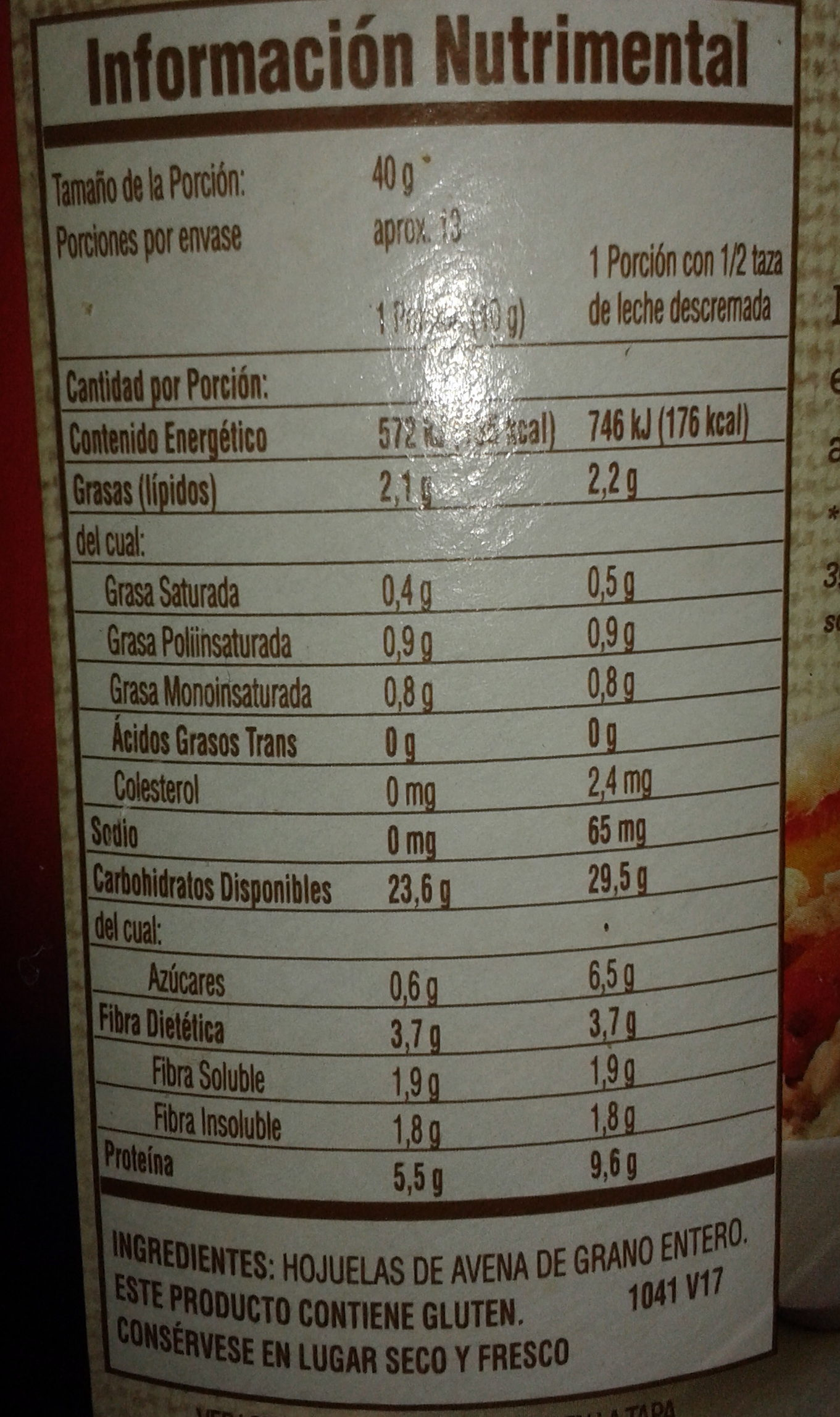Hojuelas de avena natural - Voedingswaarden