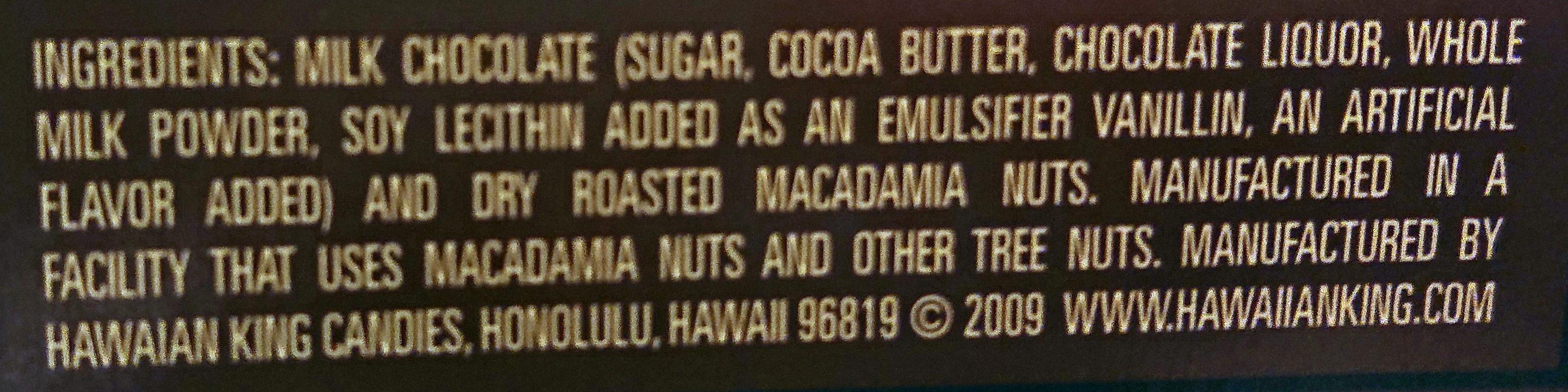 Milk chocolate covered macadamia nuts wholes and halves - Ingredients - en