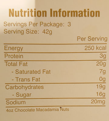 Milk chocolate covered macadamia nuts wholes and halves - Nutrition facts