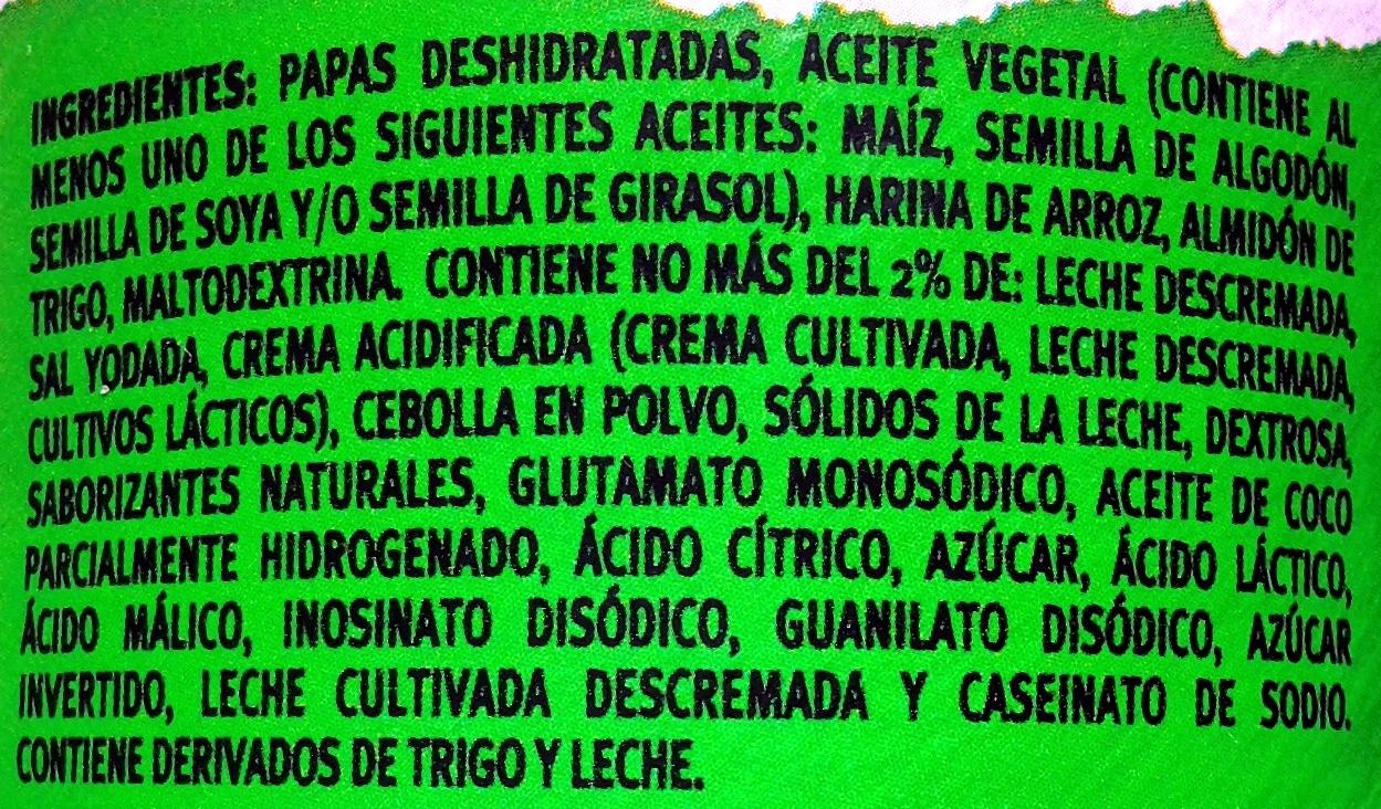 """Aperitivo de patatas """"Pringles"""" Sabor crema y cebolla - Ingrediënten - es"""