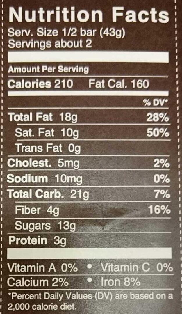 72% cocoa hazelnut toffee   dark chocolate - Nutrition facts - en