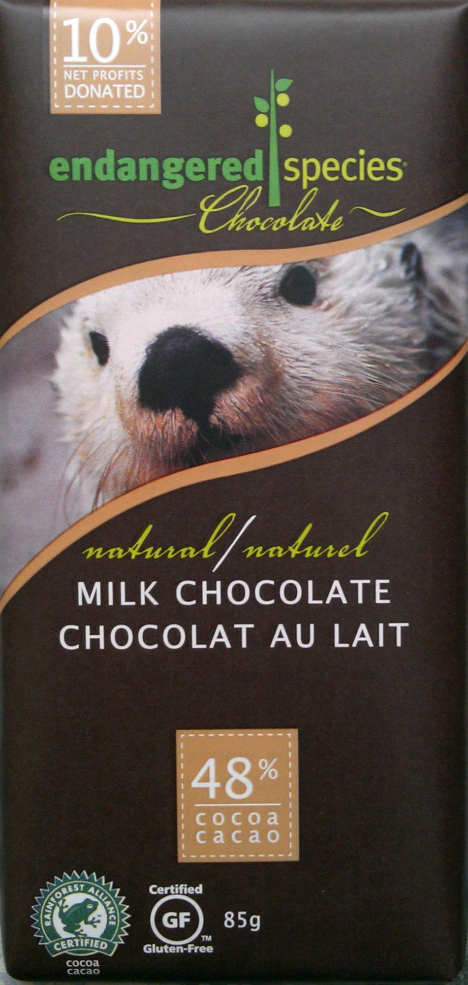 Natural Milk Chocolate - endangered species chocolate - 85 g