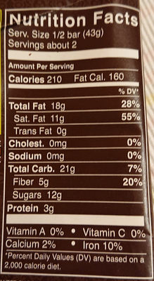 Natural Dark Chocolate 72% - Nutrition facts