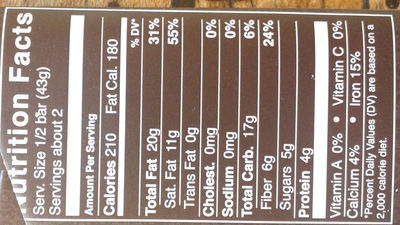 88% cocoa strong   velvety dark chocolate - Nutrition facts - en