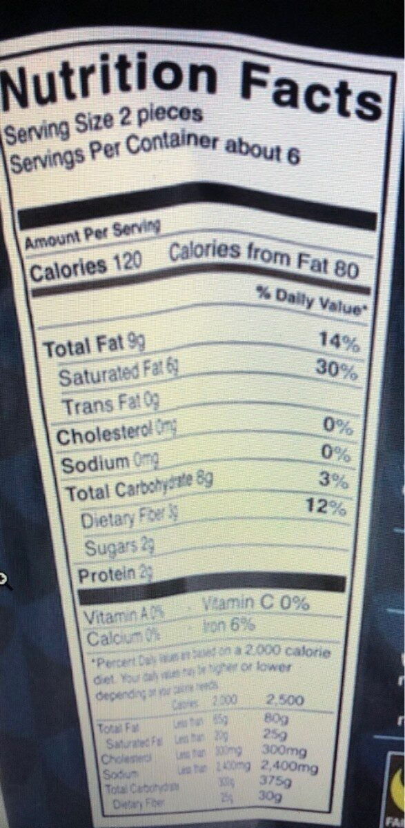 Chocolate bites - Nutrition facts - en