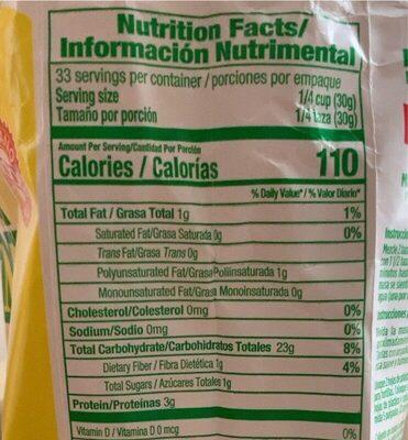 Amarillo instant yellow corn masa flour - Nutrition facts - es
