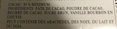 Chocolat Noir Intense 85% - Ingrédients - fr