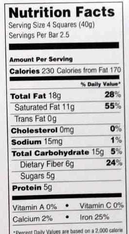 85% cocoa dark chocolate - Nutrition facts - en