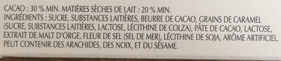Lindt Excellence Caramel Croquant - Ingredients - fr
