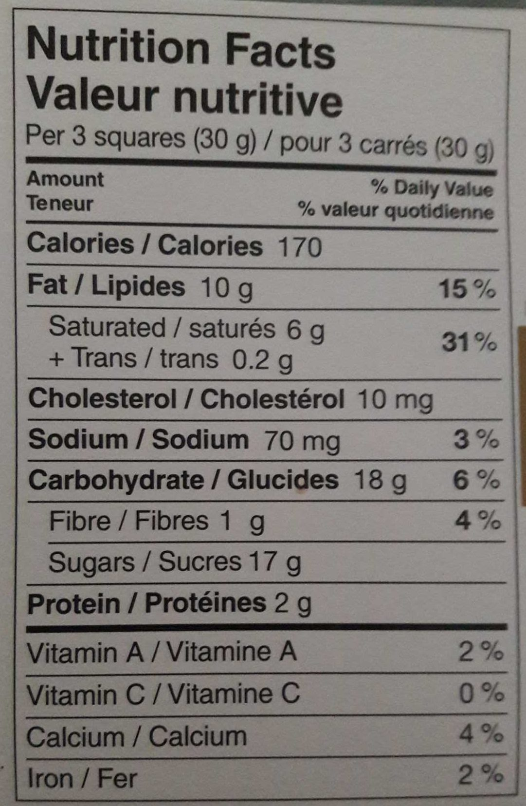 Lindt Excellence Caramel Croquant - Nutrition facts - fr