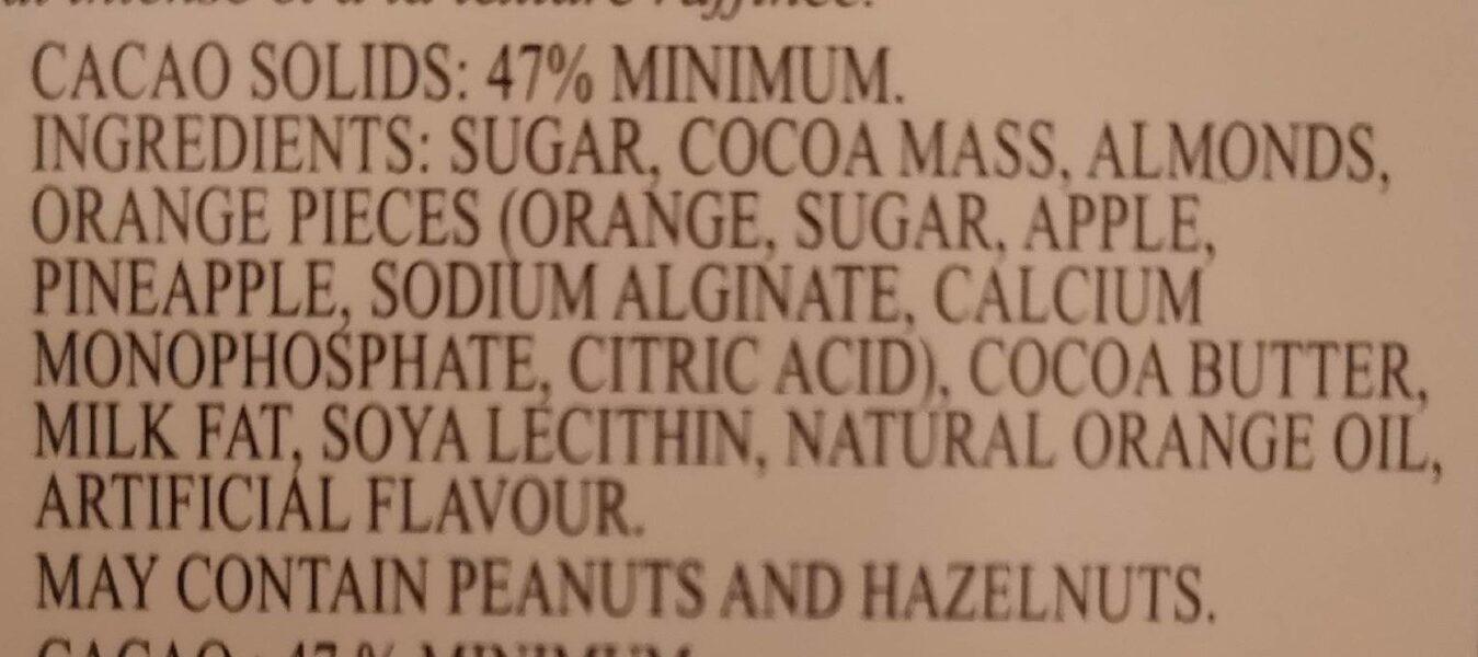 Chocolat Noir Excellence Orange Intense - Ingredients - en