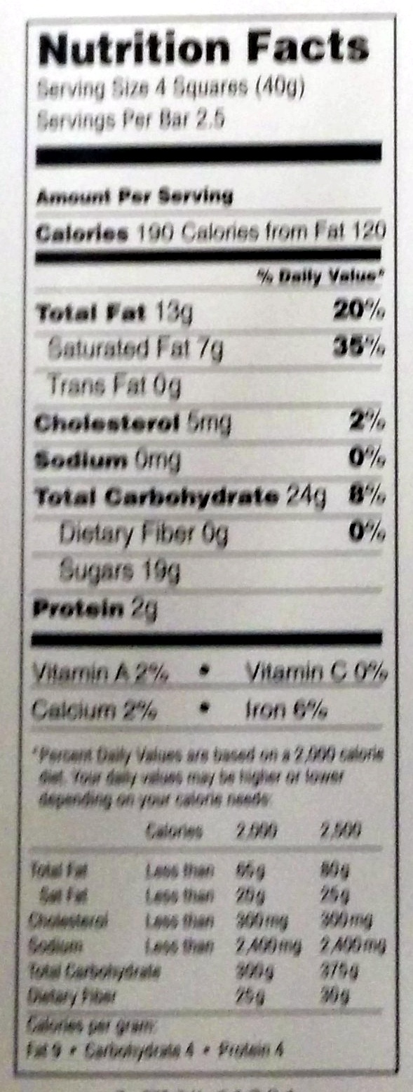 Lindt Excellence Intense Mint - Nutrition facts