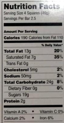 Lindt excellence, dark chocolate, dark - Nutrition facts - en