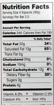 90% cocoa dark chocolate - Nutrition facts - en