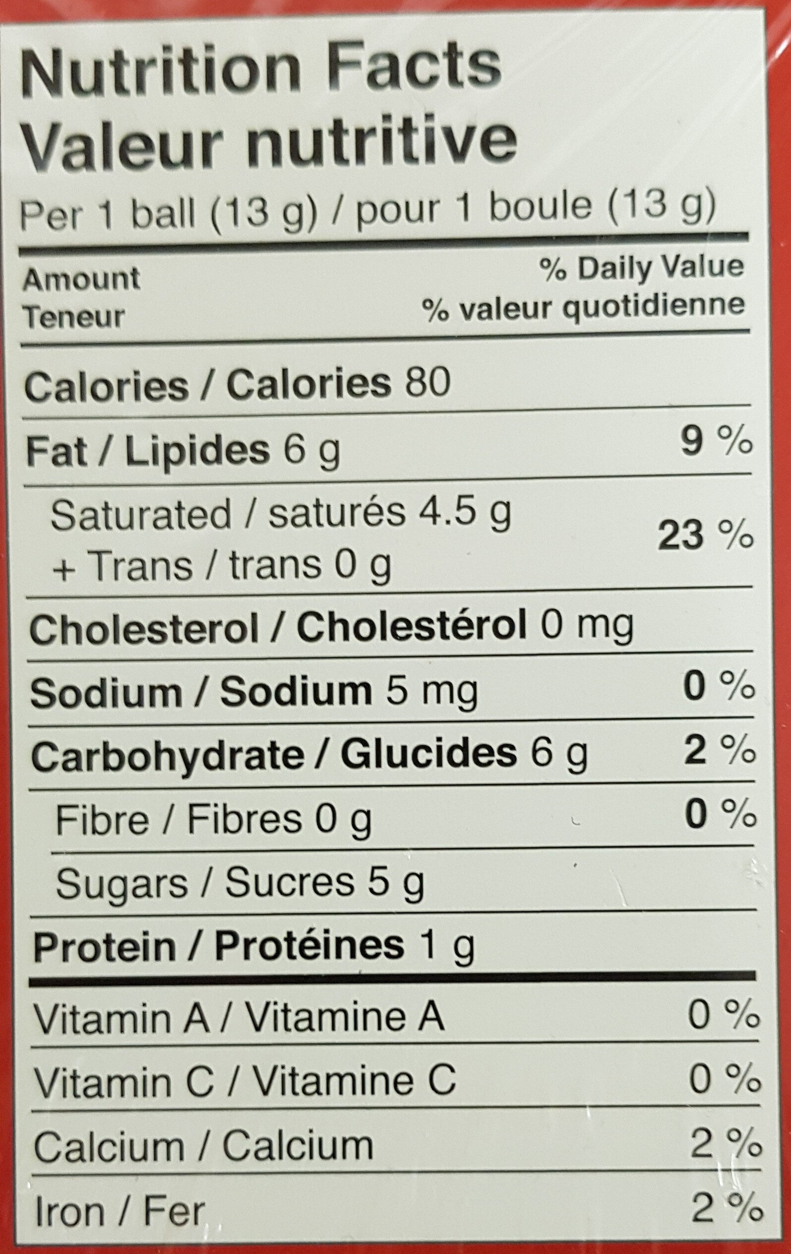 Lindor - Nutrition facts