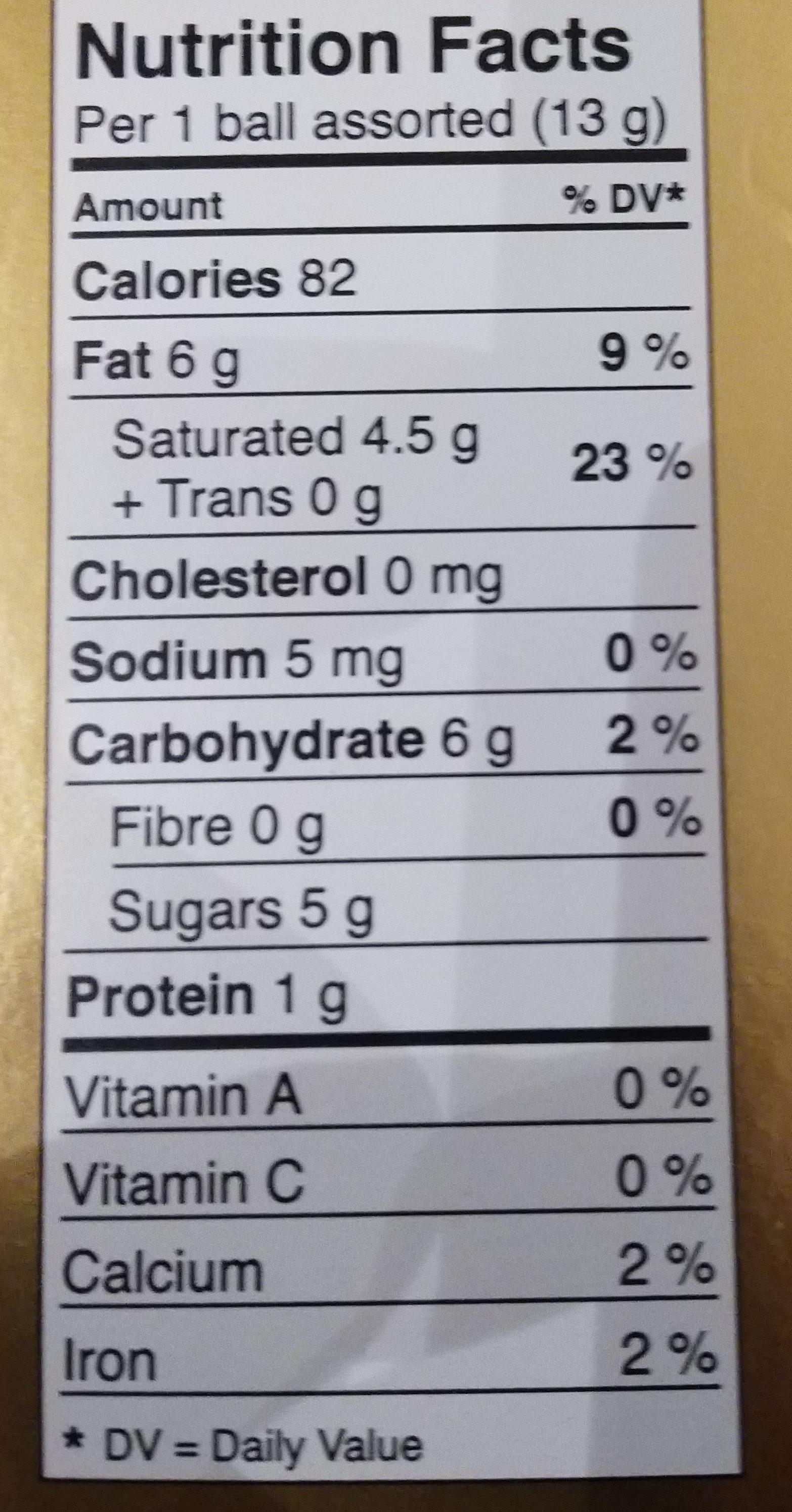 Lindt - Nutrition facts - en
