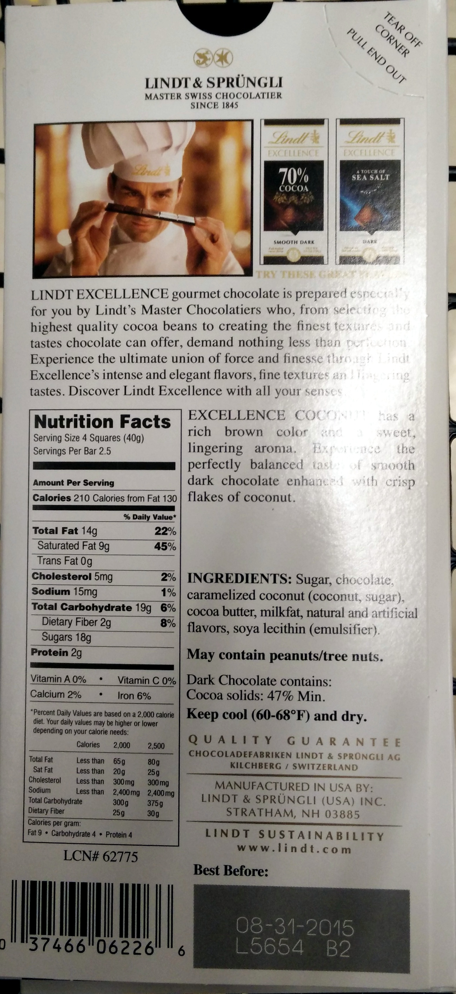 Lindt Excellence Coconut - 100 G - Product