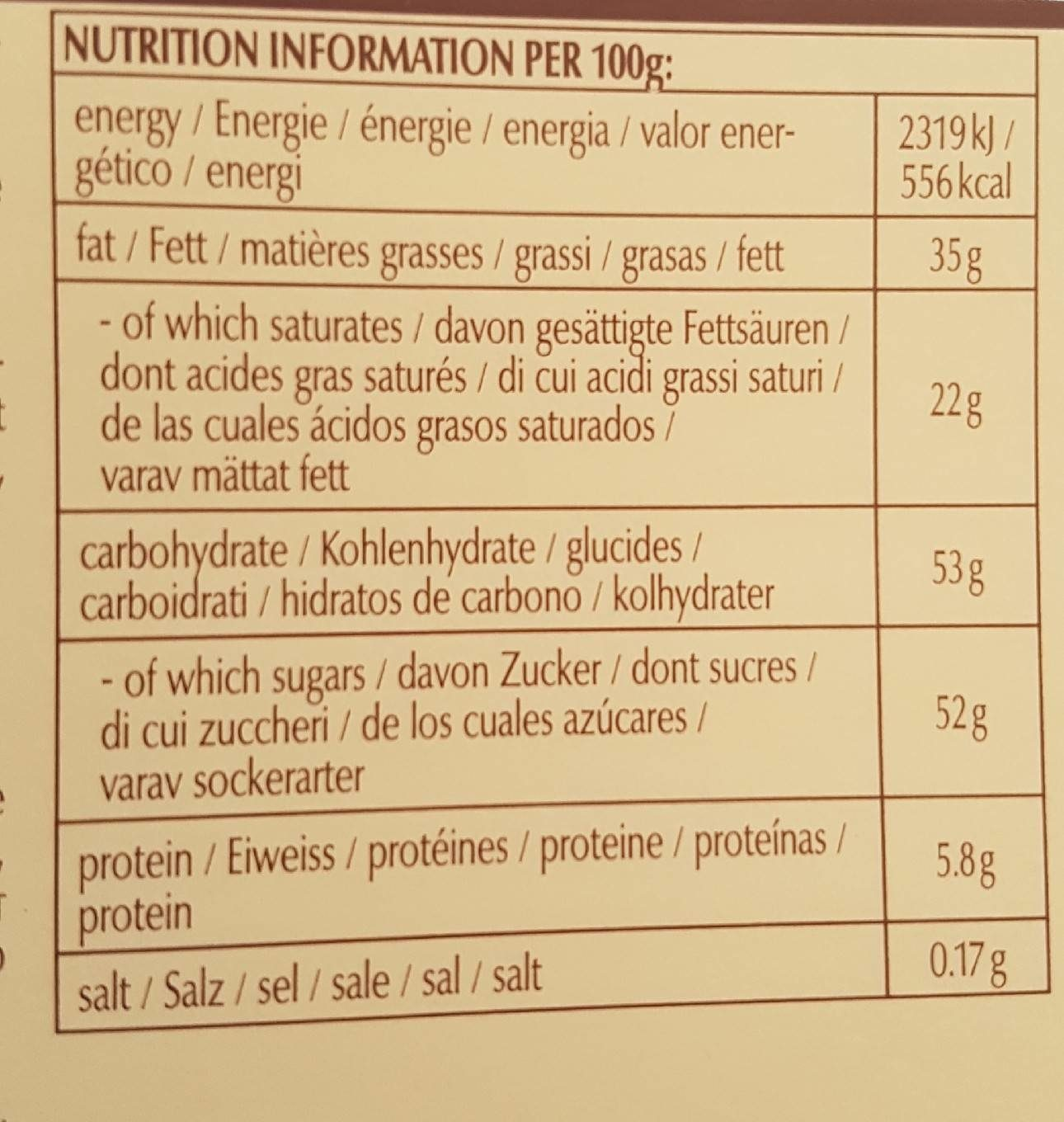 Lindt Swiss Thins - Nutrition facts - ar