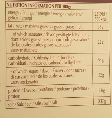 Lindt Swiss Thins - Informations nutritionnelles - fr
