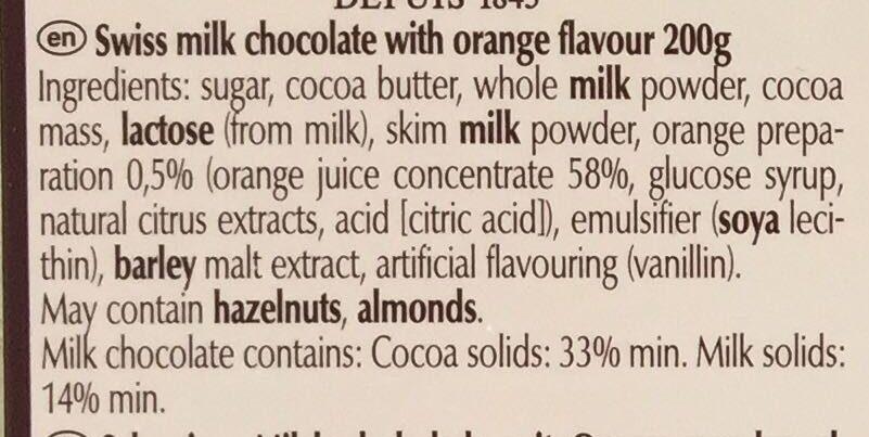 Swiss thins - Milk Orange - Ingredients - en
