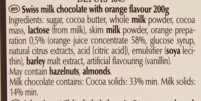 Swiss thins - Milk Orange - Ingredients