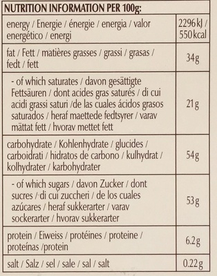 Swiss thins - Milk Orange - Nutrition facts - en