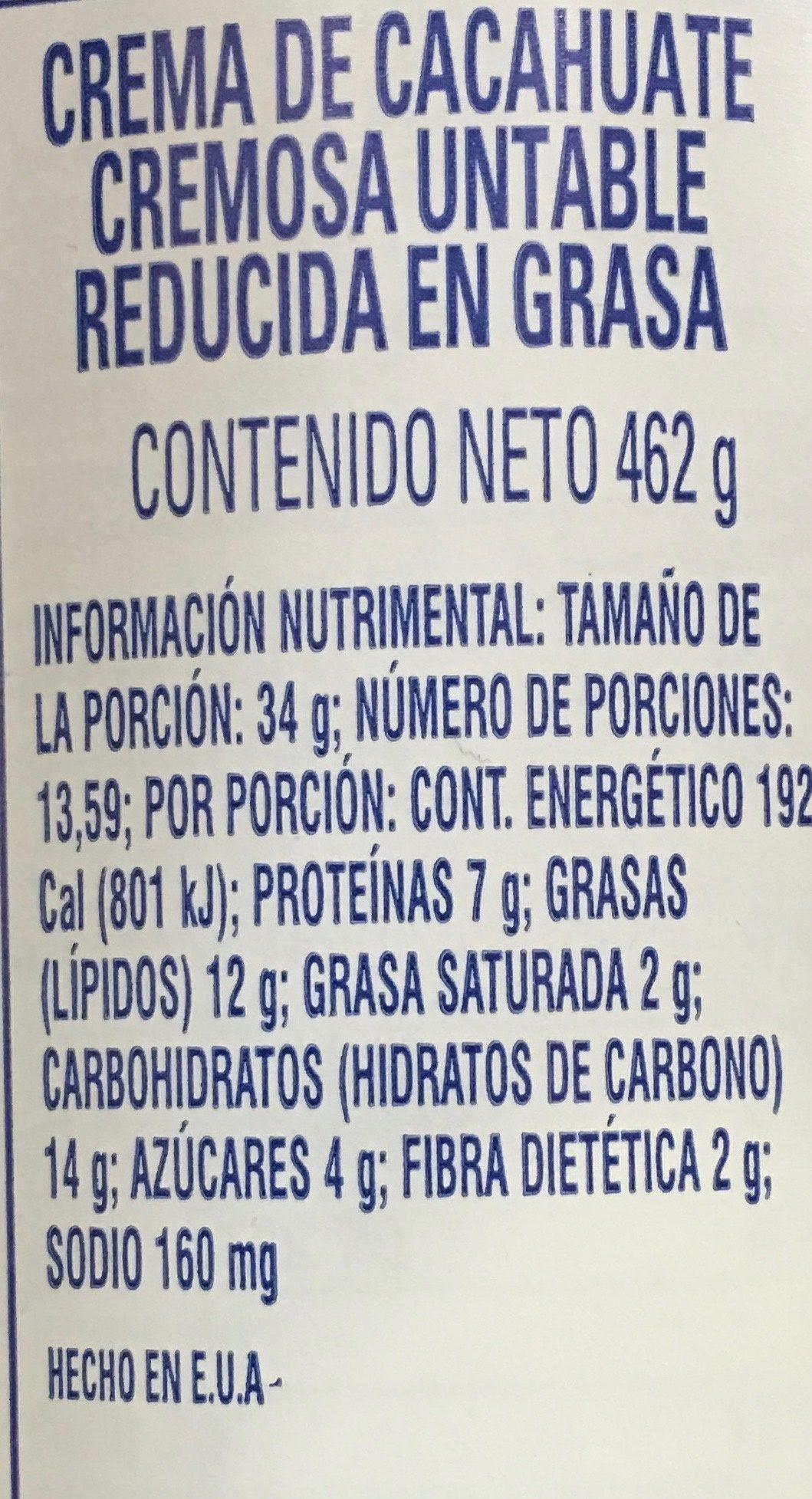Peanut Butter Spread - Información nutricional - es