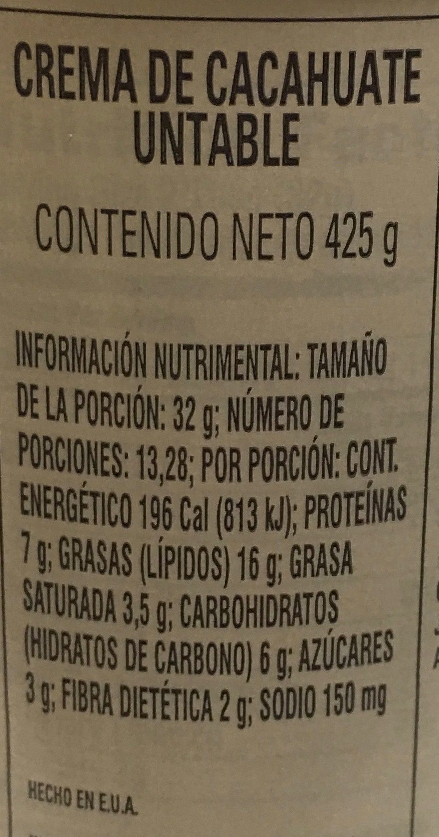 Skippy, natural creamy peanut butter spread, creamy - Información nutricional - es