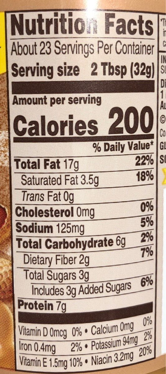 Extra Crunchy Peanut Butter Spread - Nutrition facts